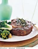 Foreman-Grilled Steaks with Savory Herbs and Roasted Garlic