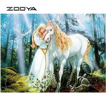 Zooya diamond pattern 3D DIY diamond Embroidery woman and unicorn Christmas decorations Pictures of crystals Home Decor AT812 (China)