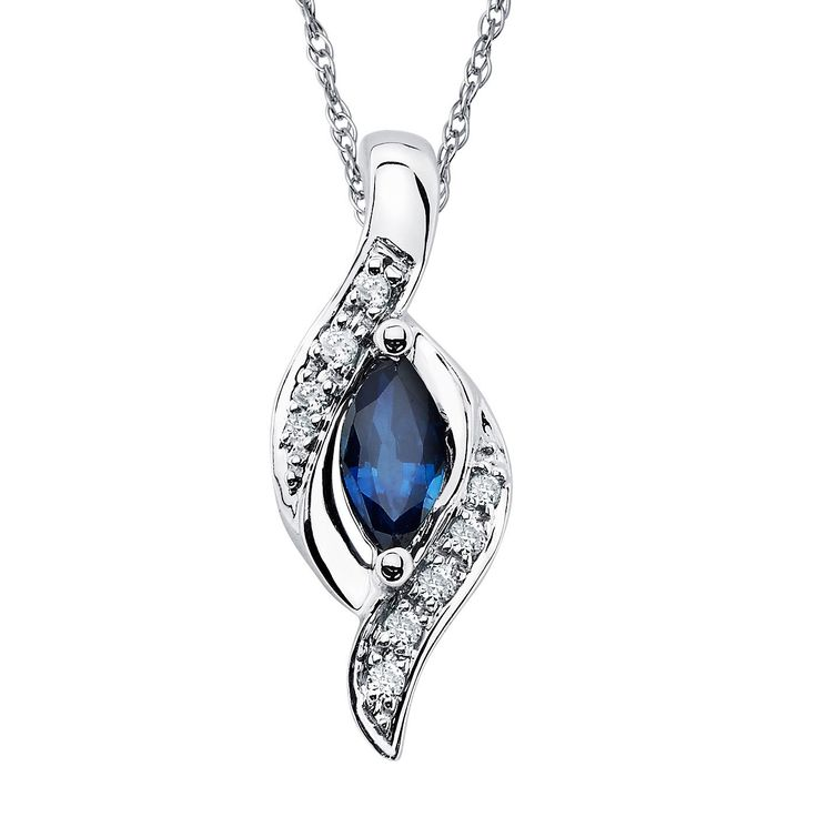 14k Gold 3/8ct Sapphire and Diamond Accent Bypass Oval Pendant (14K Gold), Women's, Size: 18 Inch, Blue