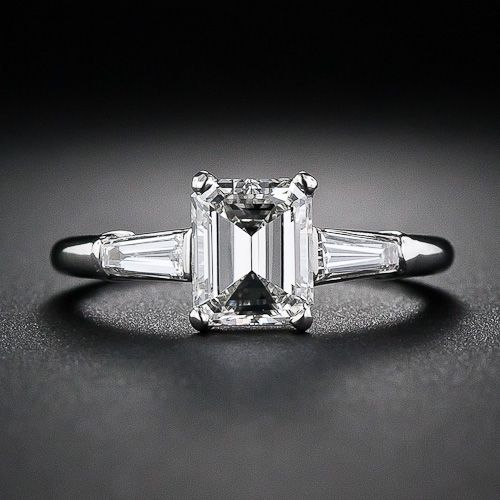 1.08 Carat Emerald-Cut Diamond Engagement Ring