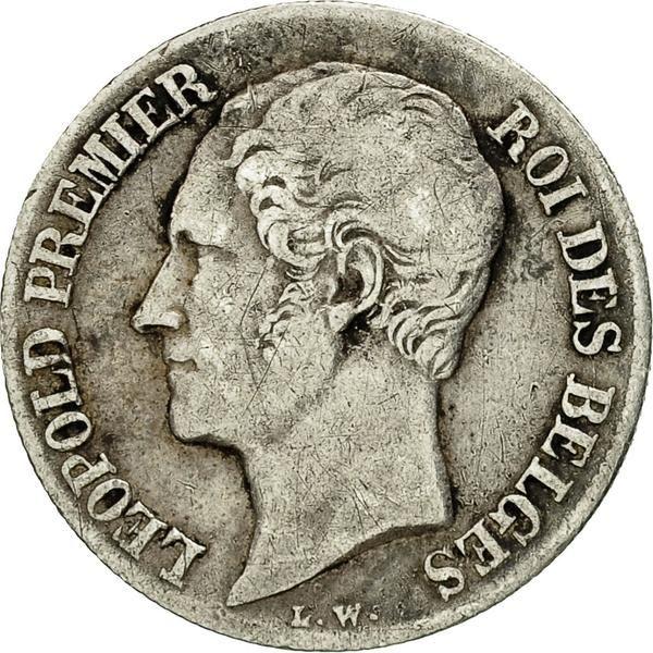 Coin Belgium Leopold I 20 Centimes 1852 Vf20 25 Silver Km