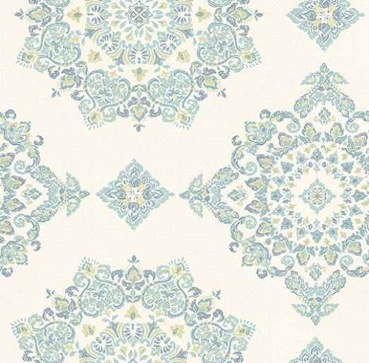 Parvani Teal/Lime (PW78034/3) - Baker Lifestyle Wallpapers - A large scale decorative motif inspired by Indian art creating a strong geometric pattern. Shown here in shades of green blue. Paste the wall. Please request a sample for true colour match. Wide width.
