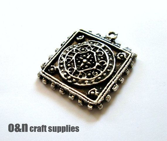 Bohemian square pendant antique metal pendant 2 by OandN on Etsy