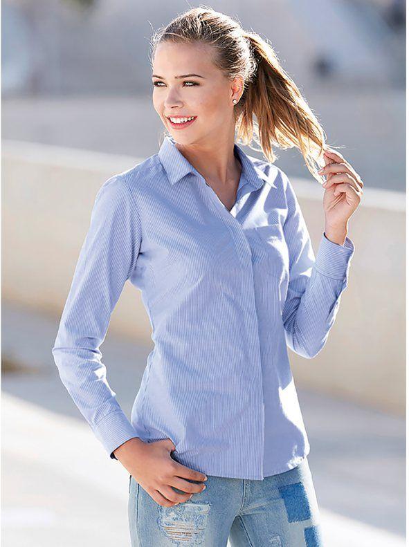 Camisa de rayas mujer manga larga con puño diseño clásico