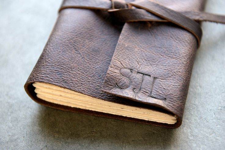 Dark Brown Leather Journal or Sketchbook - Personalized with Initials by badgerandchirp on Etsy