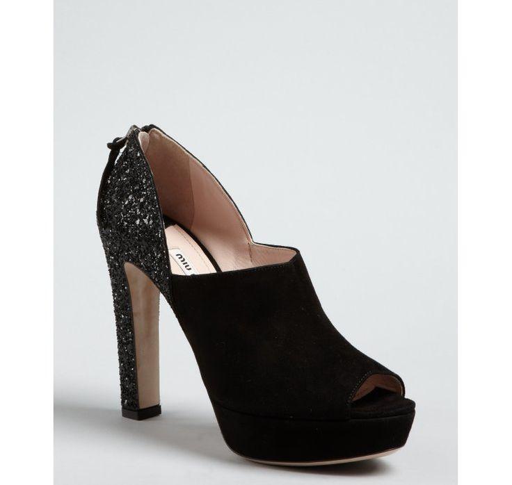 Miu Miu black suede peep toe glitter heel platform pumps;  LOVE!  LOVE!  LOVE!