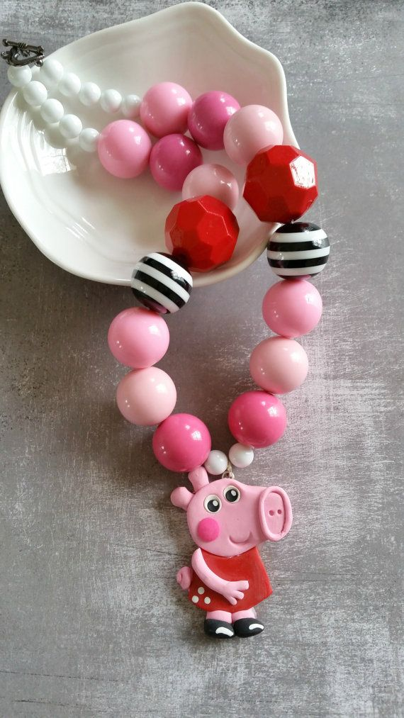 Peppa Pig necklace,Peppa Pig birthday party, polymer clay, pendant, chunky necklace, $24.00