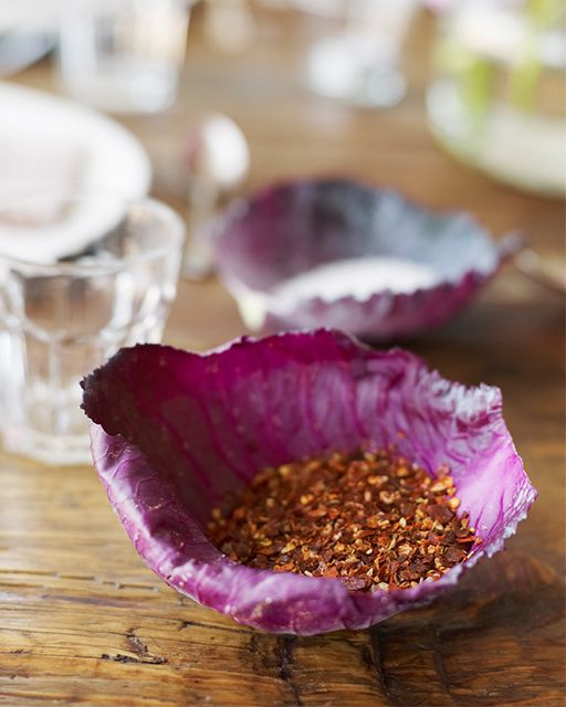 Make bowls from cabbage leaves for salt and pepper and spices for your Spring table