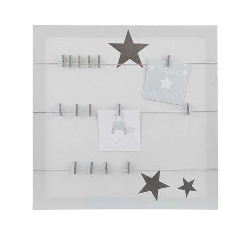 Pêle-mêle gris imprimé étoiles 45x45 PASTEL