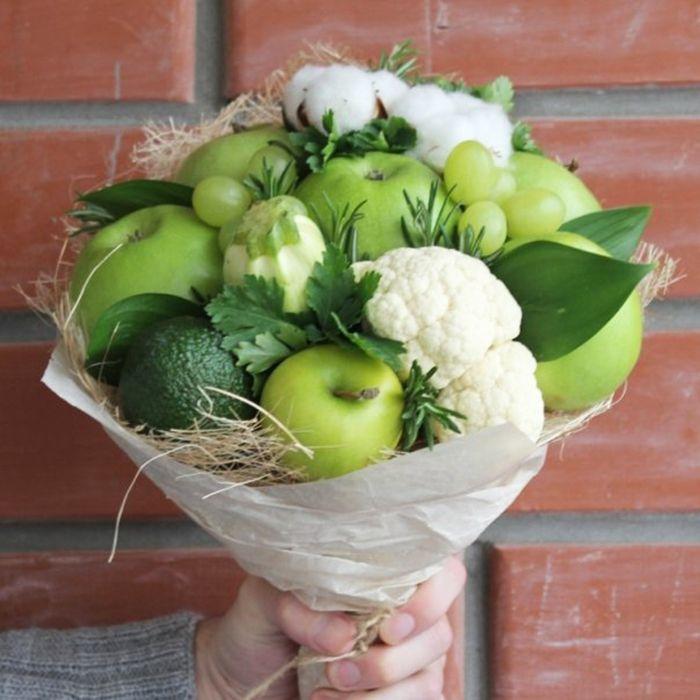 Зеленый букет из овощей, омск доставка