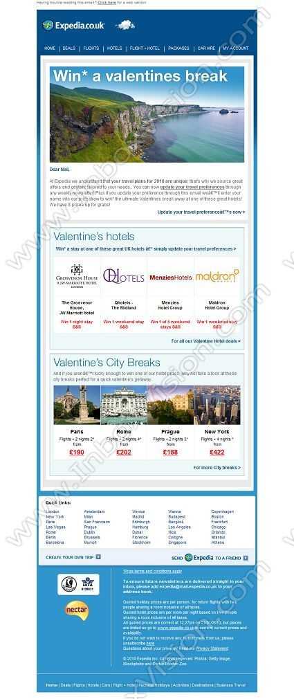Company:    Expedia.co.uk   Subject:    Win a UK Valentine's break away             INBOXVISION is a global database and email gallery of 1.5 million B2C and B2B promotional emails and newsletter templates, providing email design ideas and email marketing intelligence http://www.inboxvision.com/blog