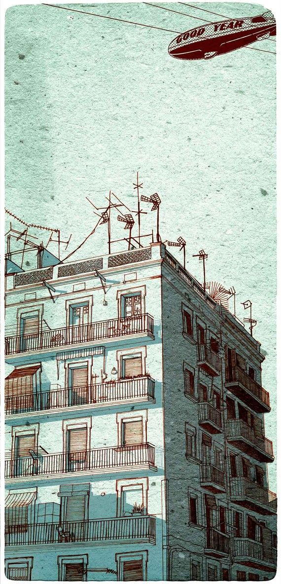 Beautiful linework by I Hoffman.  This illustration is a part of a series of seven art prints made with the same title. from dusk till dawn (early light) They all inspired by the changing of the light on various hours, on the same building Drawn during a vacation in Barcelona.