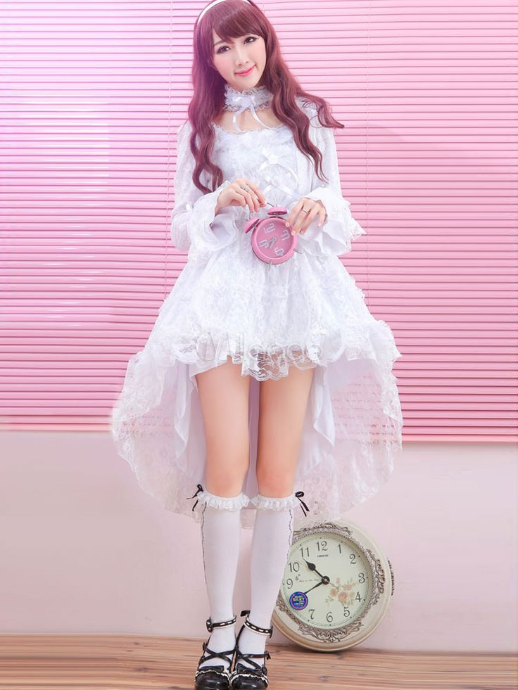 Sweet Polyester Long Sleeves U-Neck Lace Lolita One-Piece - Lolitashow.com