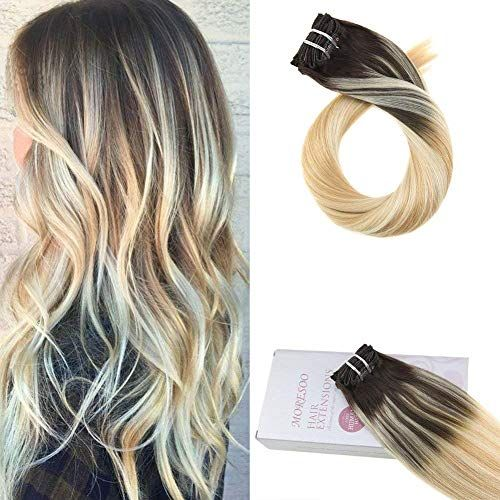 Buy Moresoo 24 inch Remi Clip Human Hair Double Weft Full Head Hair Extensions Brown Caramel Blonde Blonde 120g/pack Balayage Colored Human Hair Exensions Clip online