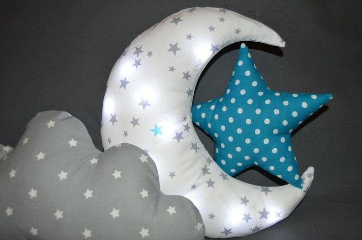 Coussin LUNE à leds, veilleuse bébé enfants, tissu coton blanc avec étoiles grises et bleues, déhoussable. : Linge de lit enfants par chuchoti