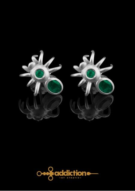 Absinthe Earrings, inspired by the absinthe spoon, used to dissolve sugar into the absinthe. Rhodium Plated Brass, Emerald 0.16ct. Click to find more jewellery pins!  #style #design #ideas #jewellery #addictionbystratis #voyjewellery #trends #fashion  #stratis #stratisvoyiatzis #stratisvogiatzis