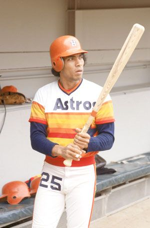 "Jose Cruz or as the announcer said ""Jose Cruuuuuuuzzz"" wearing the Houston Astros uniforms of the 70s."