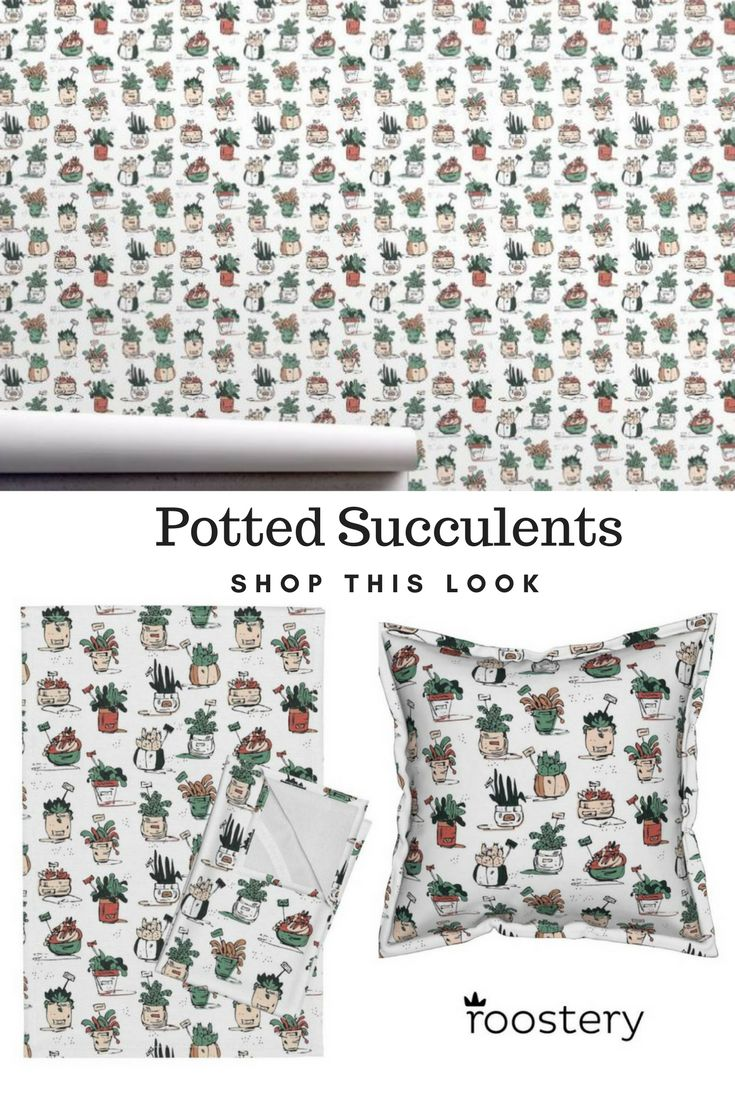 Shop this cool cactus look at Roostery! Pillows, teatowels, wallpaper and more.