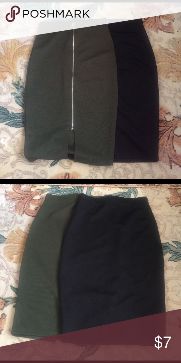 Black and Olive Pencil Skirt Black and Olive Pencil Skirt with Silver Zipper Primark Skirts Pencil