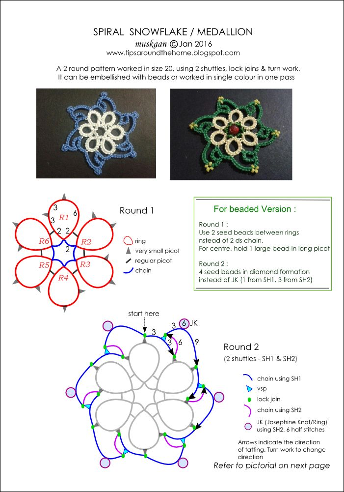 free tatted snowflake patterns . Spiral Snowflake, 6-point motif pattern.