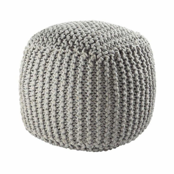 Pouf tressé en laine gris BALTIQUE