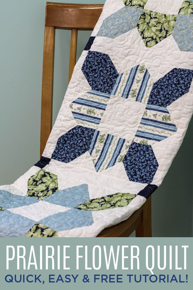 Such an easy way to make this Prairie Flower Quilt! FREE Video Tutorial using Precuts!
