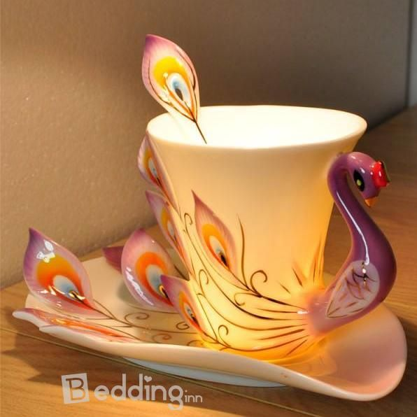 Peacock Coffee Cup ❤ $ 29.49