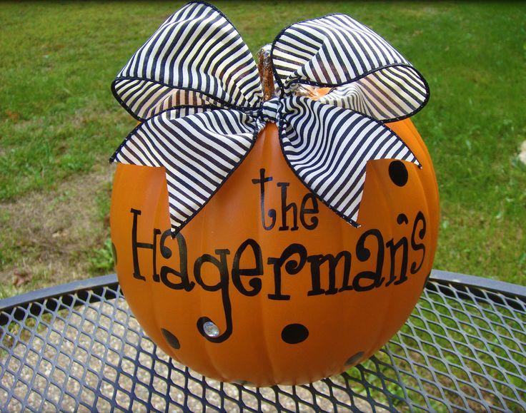 Personalized PumpkinVinyls Crafts, Fall Decor, Personalized Pumpkin, Cute Ideas, Halloween Pumpkin, Fall Halloween, Fake Pumpkin, Front Porches, Halloween Ideas