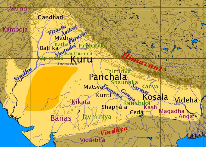 Map of Vedic India - The position of the Kuru Kingdom in Iron Age Vedic India - Kurukshetra War - (Details given are according to the epic Mahabharata)  Date: Various dates (6000 BCE – 500 BCE) - fought for 18-days. Location Kurukshetra, in modern-day Haryana, India   Result: Victory for Pandavas and allies; Fall of Kauravas.  Dhritarashtra abdicated the throne of Hastinapura and Yudhisthira succeeded him. The center of power in the Gangetic basin shifted from  Kurus to Panchalas.