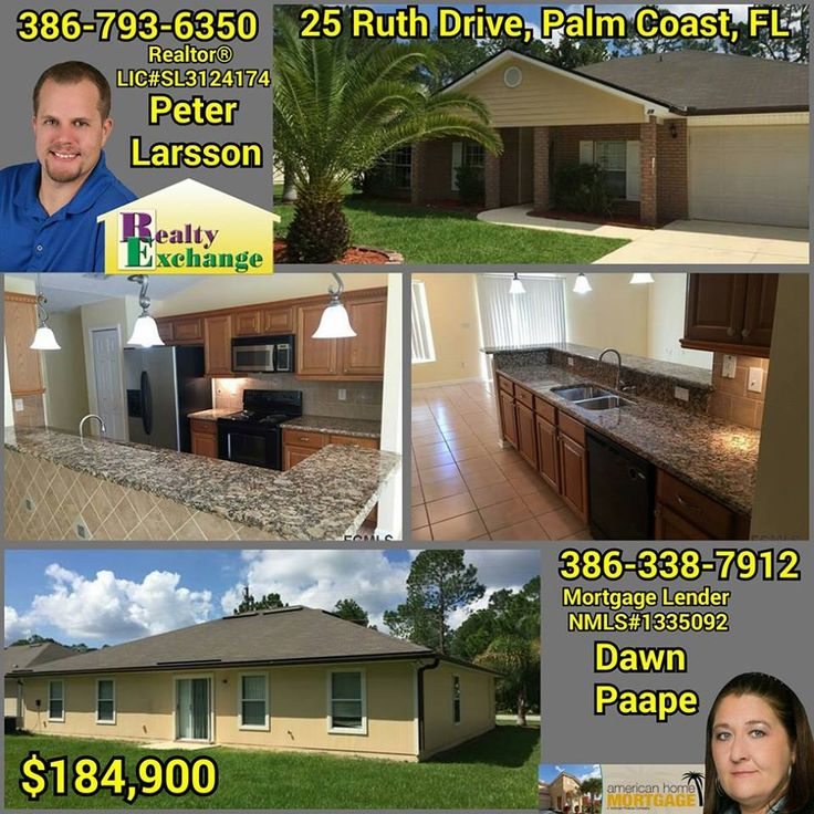 GREAT, SPACIOUS SPLIT FLOOR PLAN, 4 BEDROOM, 2 BATHROOM HOME! Call/text me, Dawn Paape, for your mortgage pre-approval and any questions you may have, 386-338-7912 and then call/text, Realtor, Peter Larsson, Realty Exchange LLC, 386-793-6350, for a showing of this home that also has an extra room in the front that could be a den/office or an extra living room. #mortgage #home #realty #realestate #realtor #Florida
