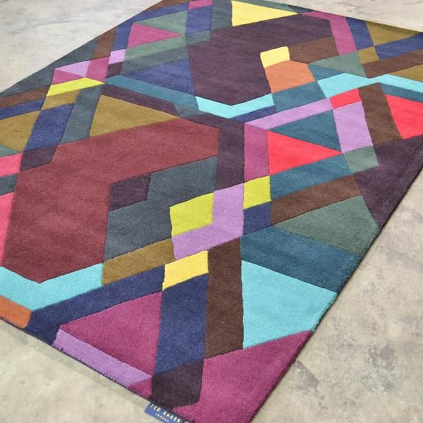 In keeping with our colourful theme for today is the stunning Ted Baker Mosaic 57607 Designer Geometric Wool Rug. Imagine this beauty in your home or office: