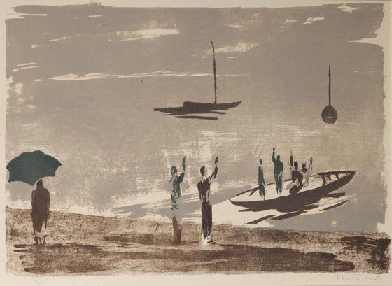 Bernáth Aurél: Balatoni csónakok esőben (Búcsú) (1962)