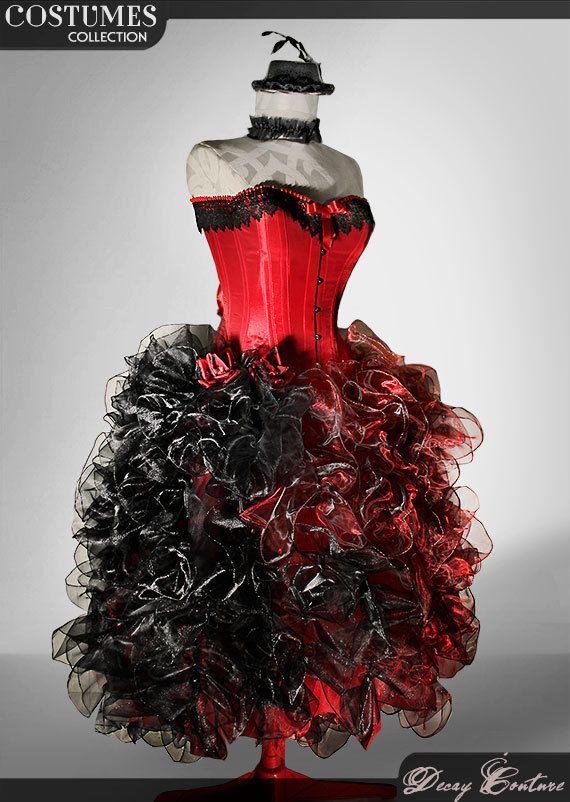 Abito da sposa rosso con corsetto rosso di DecayCouture su Etsy