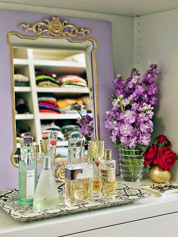 Use trays to organize perfume bottles | closet inspiration