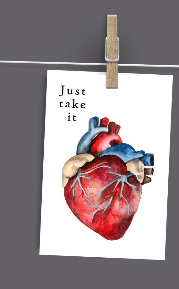 Anatomical Heart Digital Print Just Take by ElettrasHappyLetters