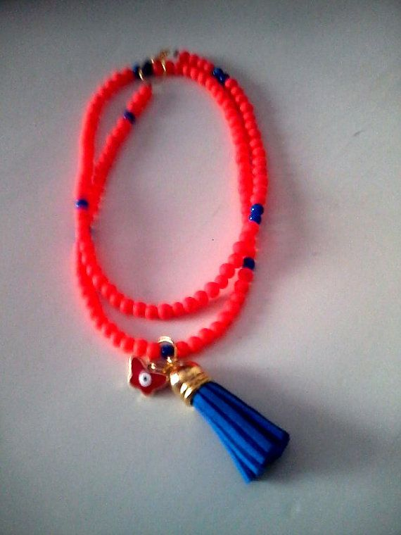 NewFluo orange charm necklace by KaterinakiJewelry on Etsy, $7.00