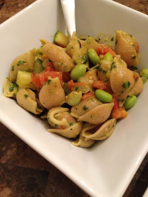 Vegetable And Edamame Pasta With Basil Cream Sauce Recipe ...