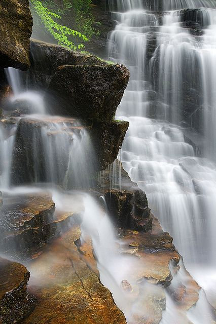 WATER WORLD -- Great Smoky Mountains, NC... A unique perspective of Soco Falls in the Great Smoky Mountains after a fresh rainfall... by Light of the Wild, via Flickr