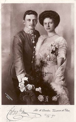 Archduke Carl of Austria and Princess Zita of Bourbon Parma at the time of their wedding in 1911 (the future Emperor Karl and Empress Zita of Austria-Hungary)