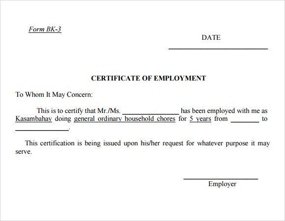 Certificate Of Employment Word Excel Pdf Formats Certificate