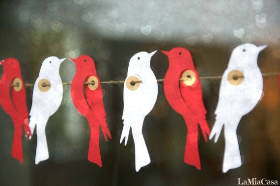 SALE Paper Garland, LOVE BIRDS, Wedding garland, Birthday Party Garland, Valentine Garland, Bridal Shower garland