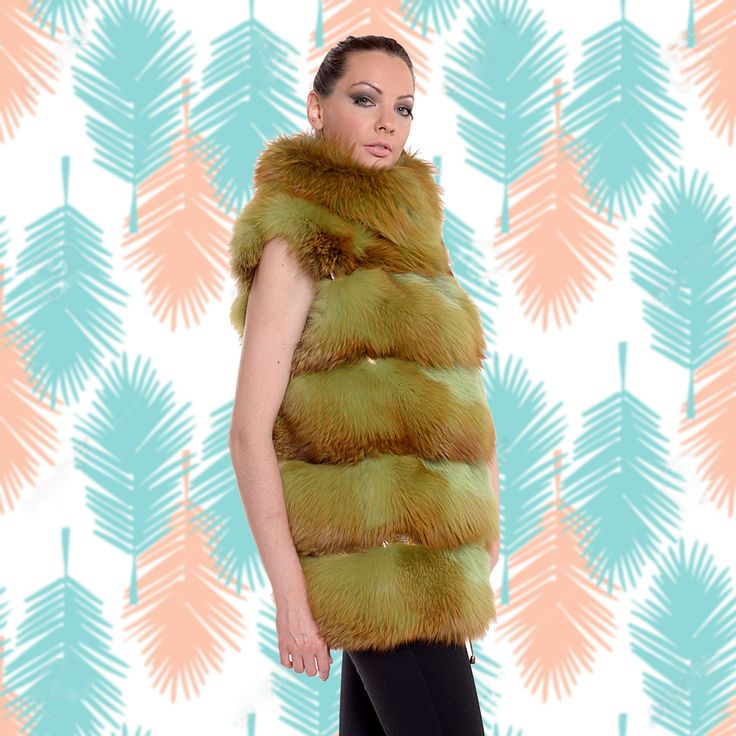 Fox fur passion, in a yellow dyed vest.