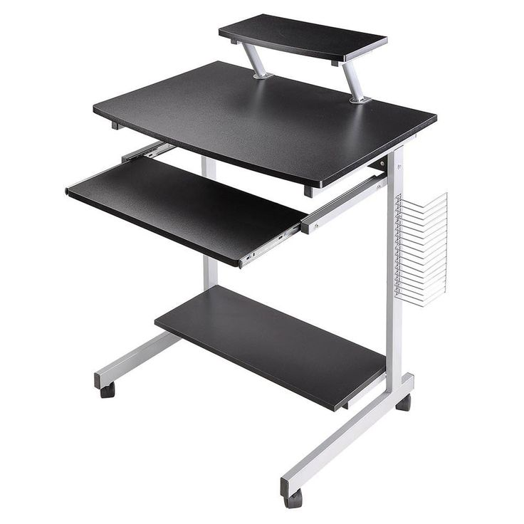 Mobile Computer Desk Portable Compact Laptop Rolling Cart