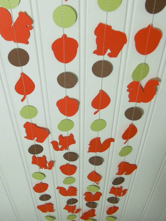 Woodland Animal Paper Garland, 8 Feet, Fox, Bear, Squirrel, Leaf,  Acorn, Kids Party Decor, Birthday Party, Forest Animals, Baby Shower on Etsy, $7.00