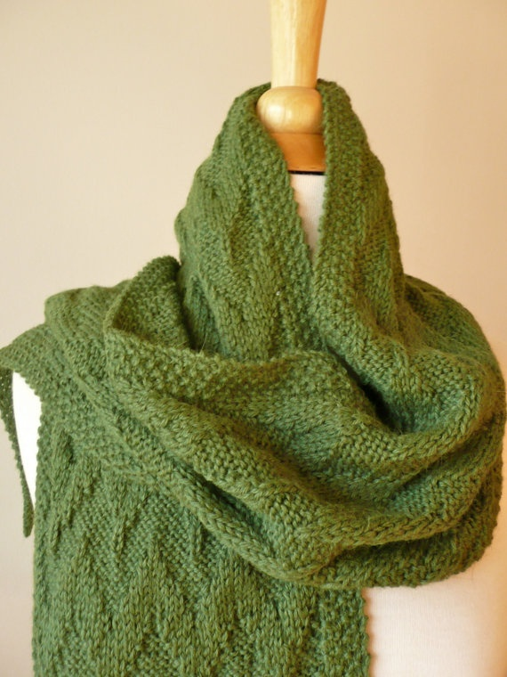 Forest Green Men Scarf Hand Knitted In Alpaca Wool By