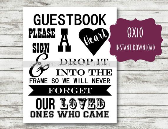 black and white guestbook please sign a heart frame 8 3 x11 7 a4 instant download printable
