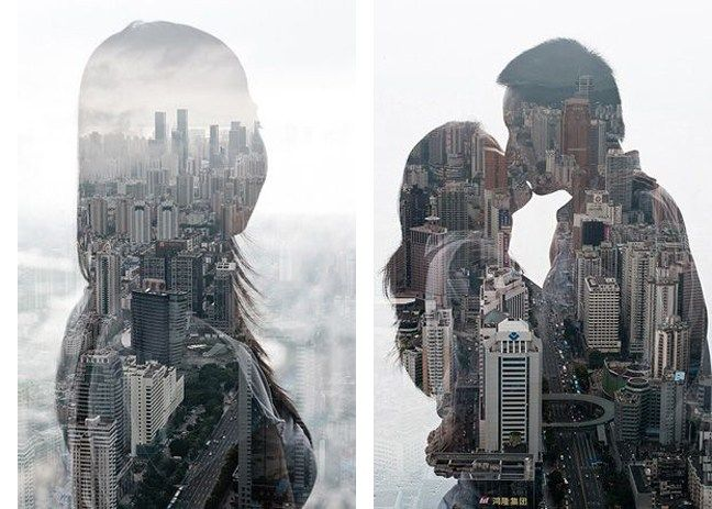 City silhouettes double exposure photography10