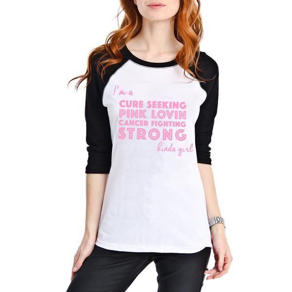 Katydid Cure Seeking Wholesale Pink Ribbon Raglan T-Shirt
