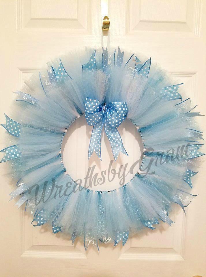 Blue tulle wreath, Nursery decor, Nursery wall decor, Baby shower decorations, Baby Boy, Baby gift, Tutu wreath, It's a Boy, Gender Reveal