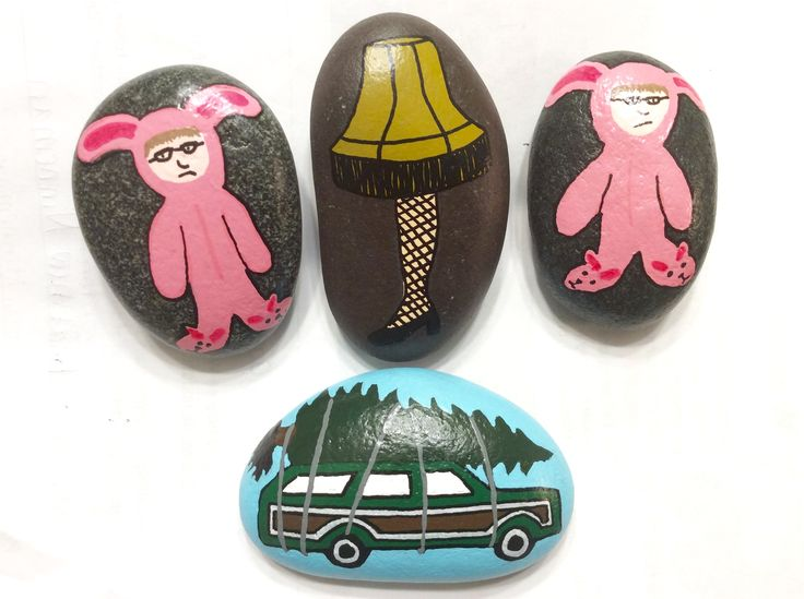 Ralphie pink bunny costume, A Christmas Story, Griswald family Christmas, Christmas Vacation, leg lamp, it's a major award, painted rocks by Holly N.